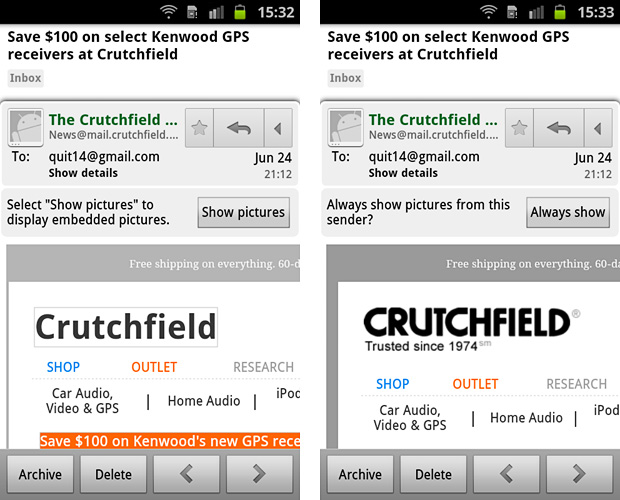 Android email design tips