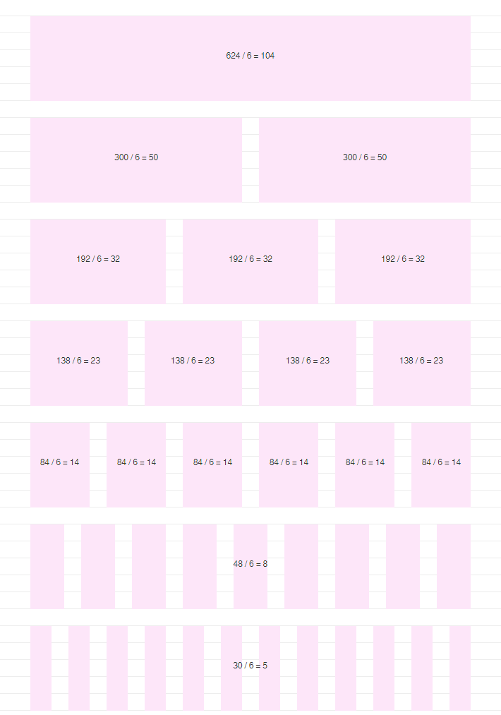624px wide email system, 24px baseline and gutters, layout for a 6px grid