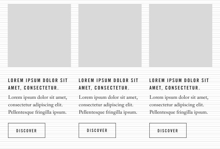 Baseline and column grid align all the elements such as type, images and buttons around a common 6px unit