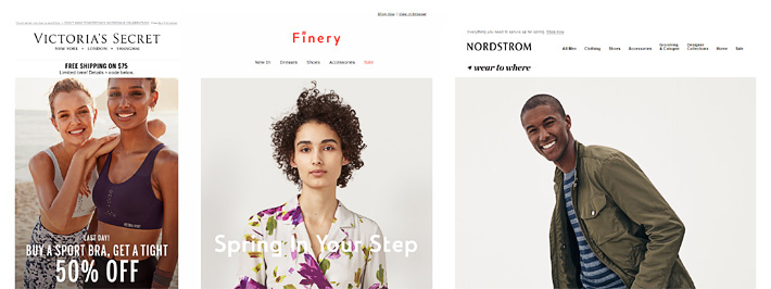 Email widths today range from Victoria's Secret 520px, to Finery' 740px and Nordstrom' 960px