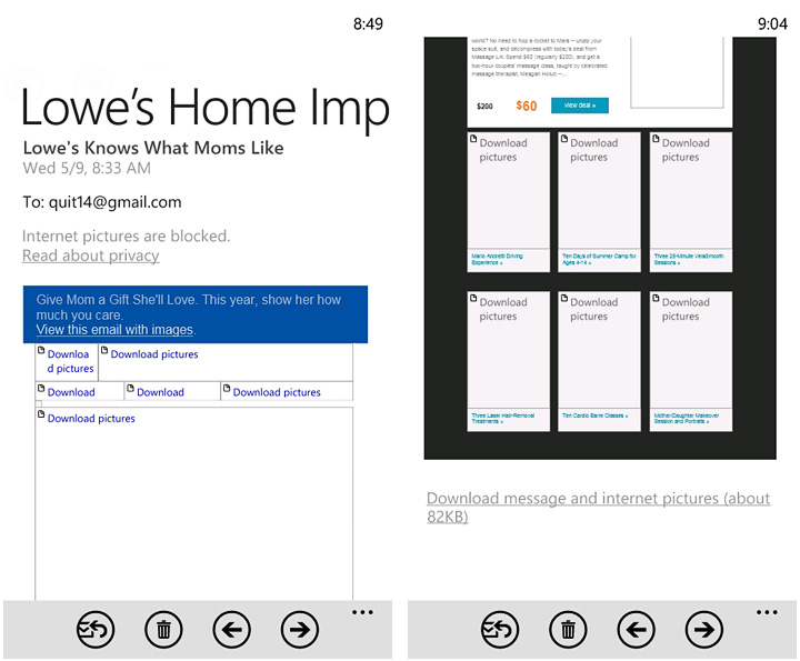 Designing emails for WP7