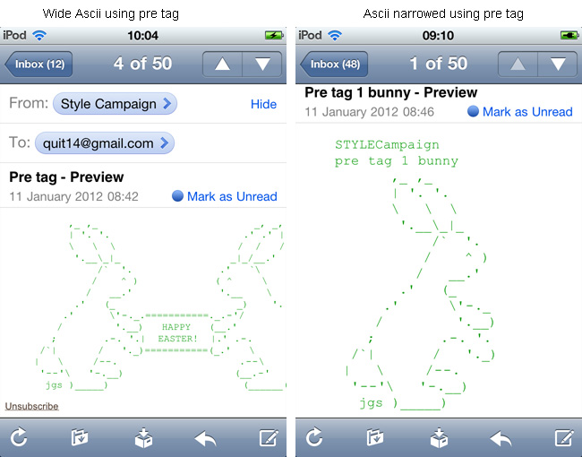 Ascii art support in email