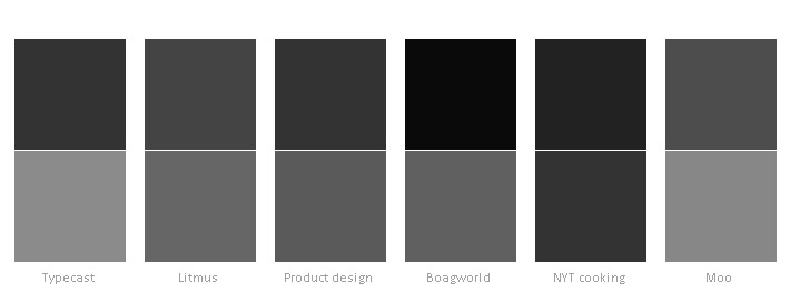 Header and body type color combinations
