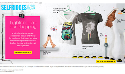 View Selfridges side scrolling email