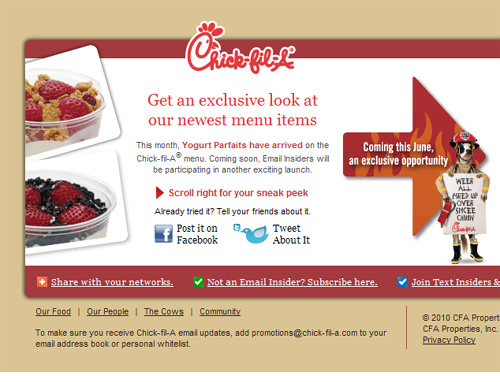 View Chick-fil-A side scrolling email