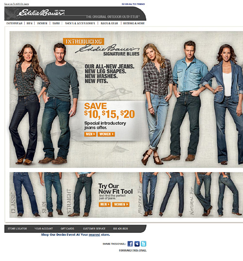 View Eddie Bauer side scrolling email