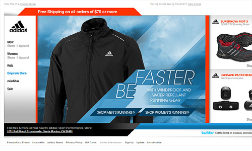 View Adidas side scrolling email