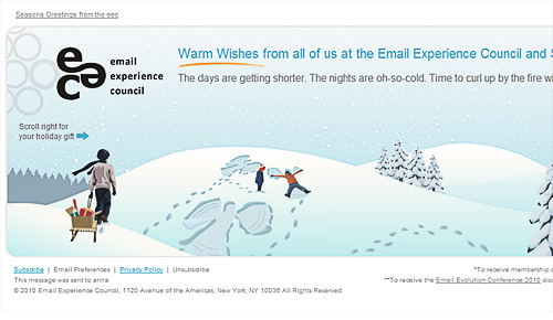 View EEC side scrolling email