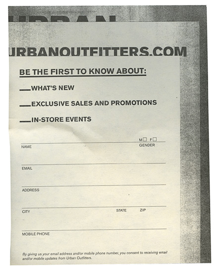 In-store email sign up