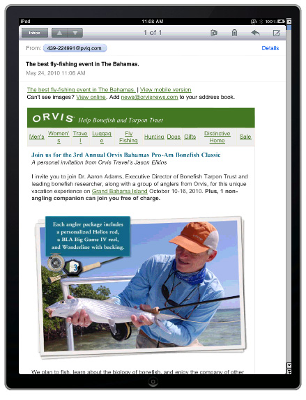 iPad email preview in Pivotal Veracity