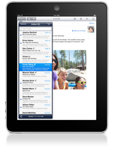 Email on the iPad in portrait