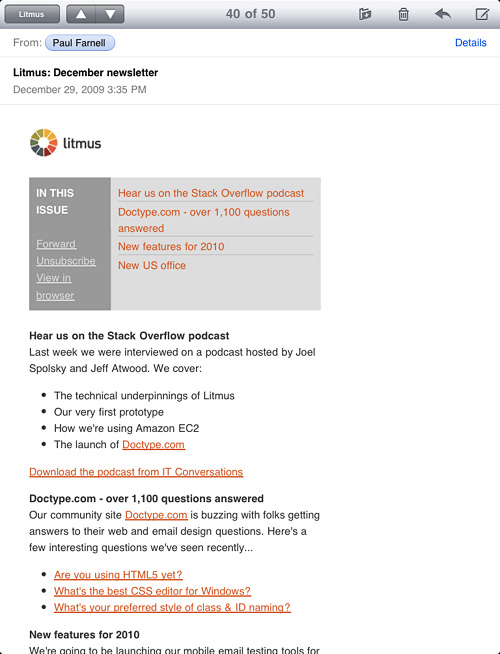 iPad email preview on Litmus