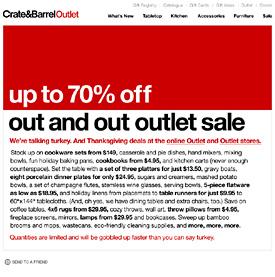 Crate&Barrel newsletter