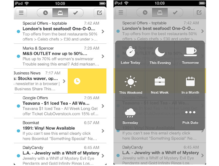 mailbox side swipe actions