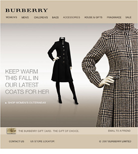 Burberry apparel photography newsletter