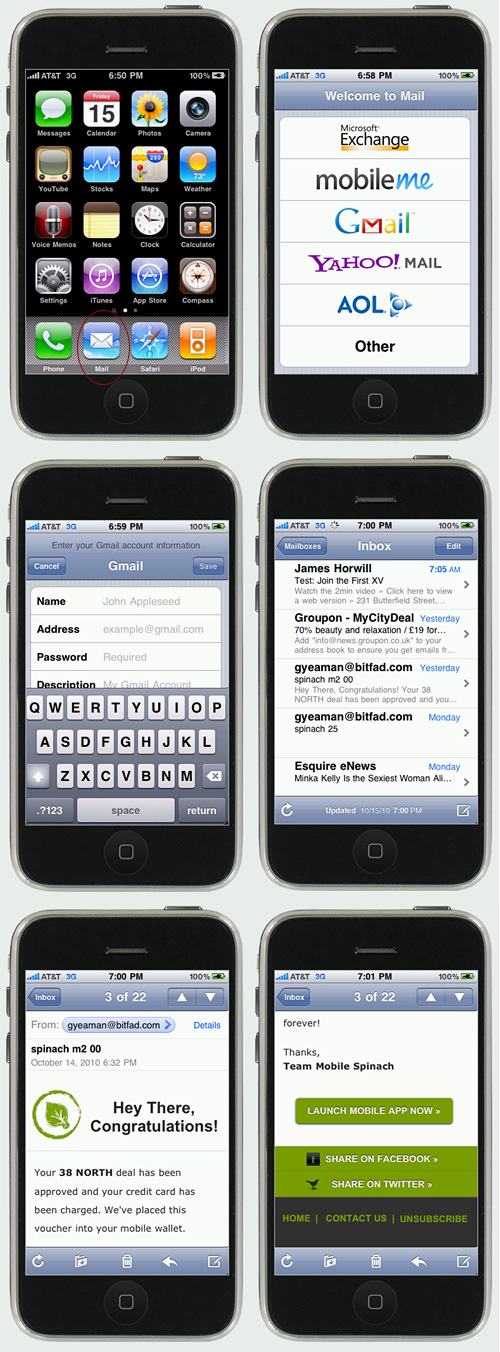 Native email on the iPhone