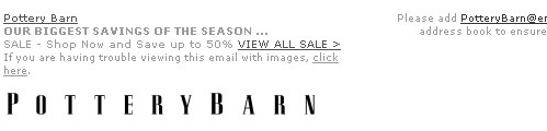 Pottery Barn link in preview pane