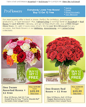 Proflowers newsletter