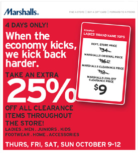 Marshalls marketing in a recession