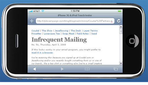 How the skinny email looks on an iPhone