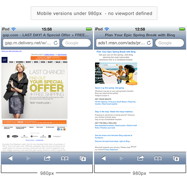 Examples of mobile versions without viewport defined