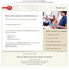 betty crocker welcome email