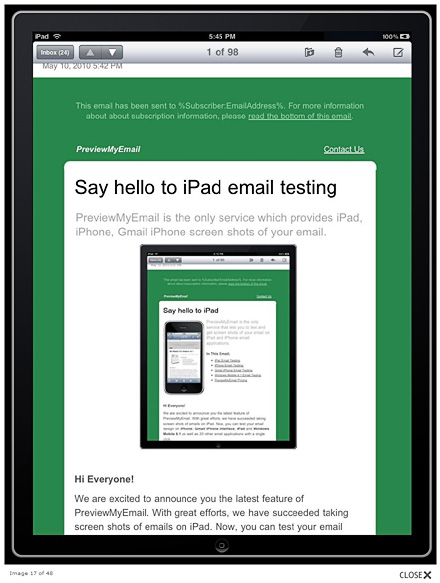 iPad email preview in PreviewMyEmail