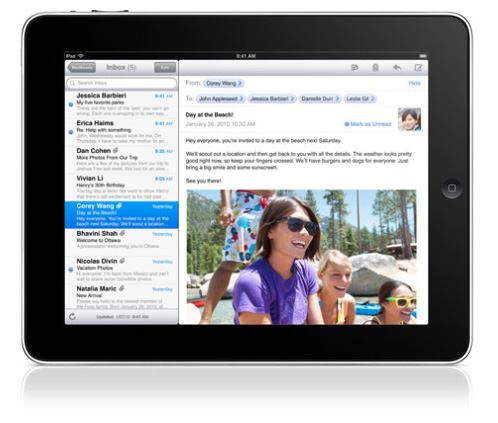 Email on the iPad in Landscape